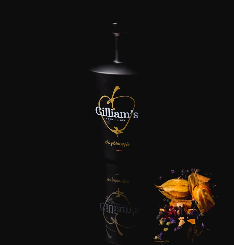 Gilliam's Gin - logo, branding en packaging design - ikoon tielt
