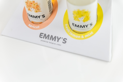 Emmy's Cider - logo, branding en packaging design - ikoon tielt